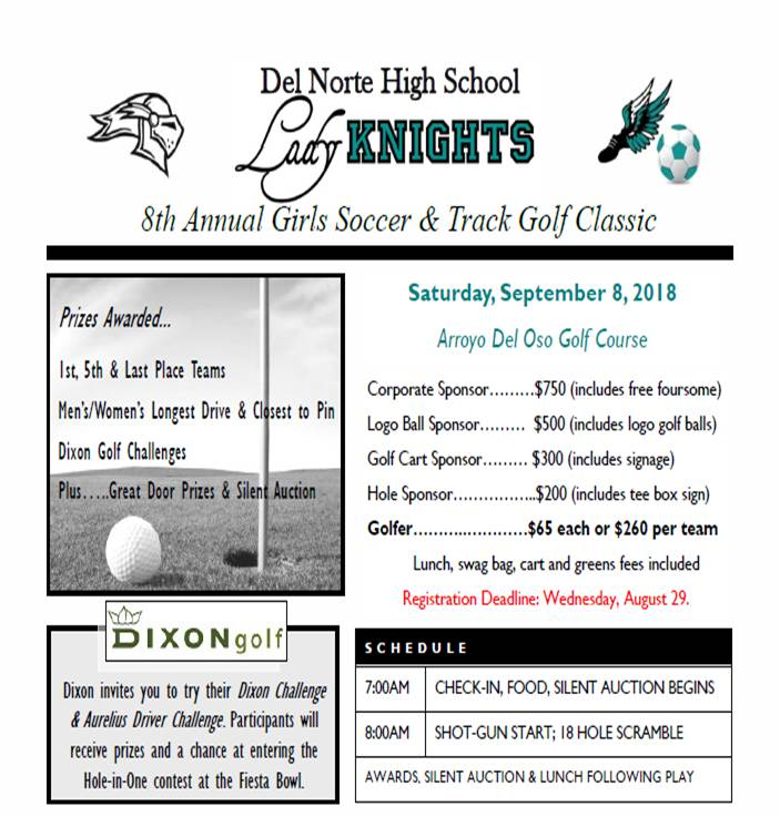 2018 DNHS Girls Soccer and Track Golf Classic flyer