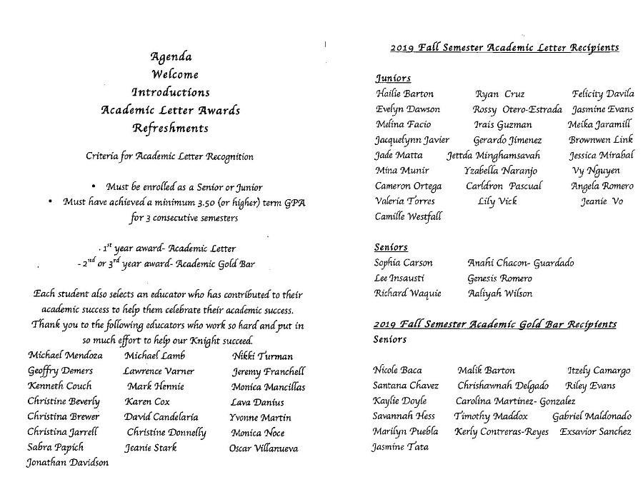 List of 2019 DNHS Academic Letter Recipients