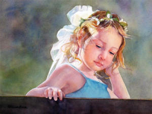 """Playground Princess"" a watercolor portrait by artist Patricia Baca"