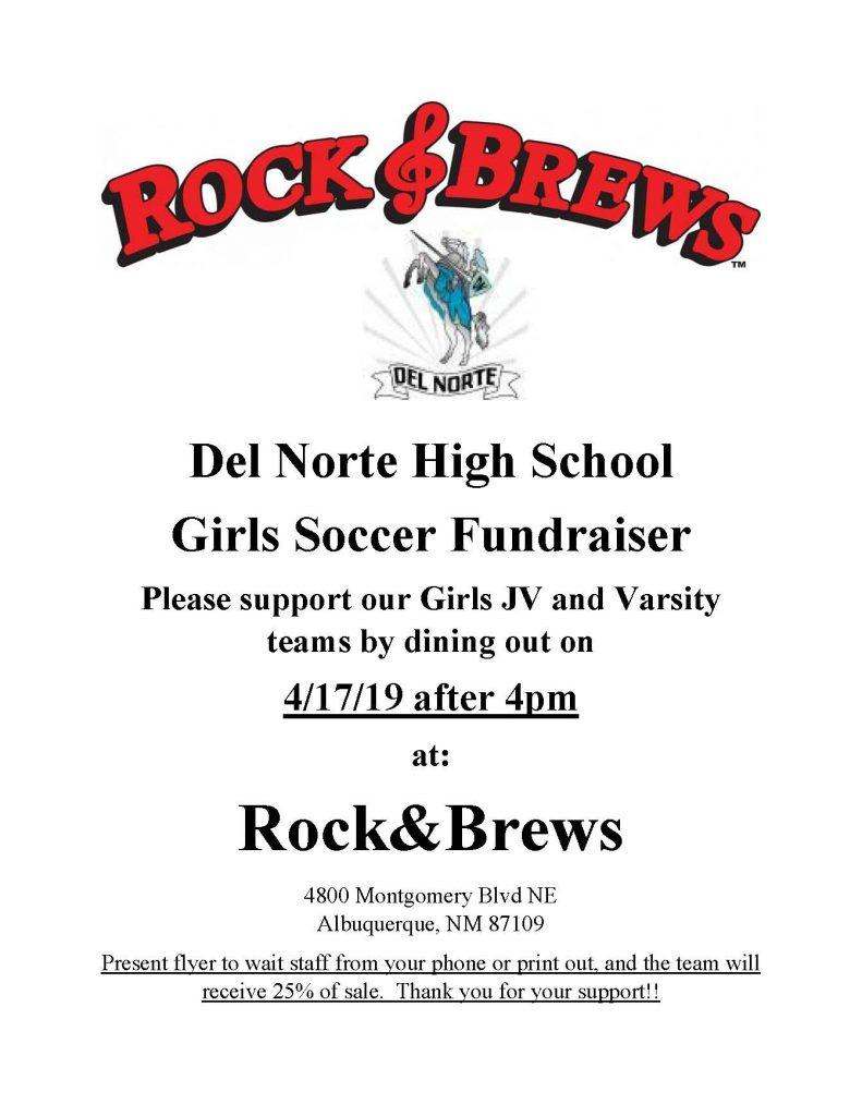 DNHS Girls Soccer Rock&Brews Flyer