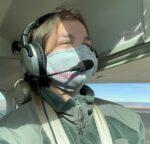 Photo of Veronica Bearup flying.